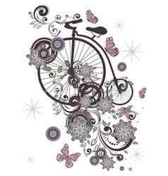 Old Bicycle and Floral Ornament3 vector image