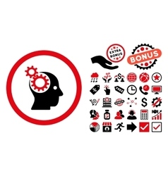 Intellect gears flat icon with bonus vector
