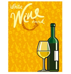 White dry wine card vector