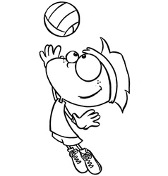 Boy playing volleyball vector