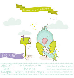 Cute parrot with a letter baby shower card vector