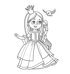 Cute princess with long hair holds on finger vector
