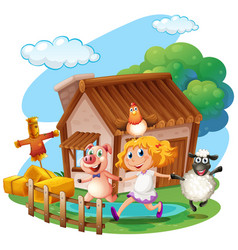 Girl and farm animals at home vector