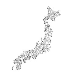 Map of japan from polygonal black lines and dots vector