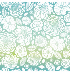 Blue and white mosaic gradient flowers vector