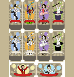 Set of circus tickets templates vector