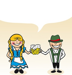 German cartoon couple bubble dialogue vector image