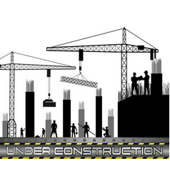 Construction workers with cranes vector