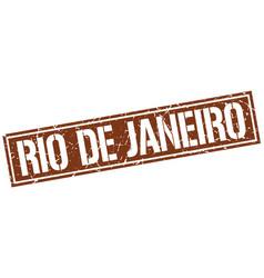 Rio de janeiro brown square stamp vector