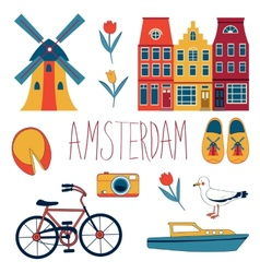 Colorful amsterdam set vector