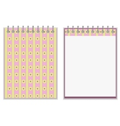 Floral style pink and yellow notebook cover design vector