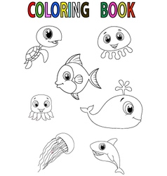 Cartoon fish coloring book vector