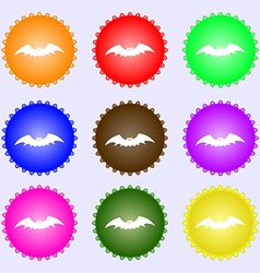Bat icon sign a set of nine different colored vector