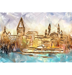 Istanbul on multicolor background vector