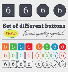 Number six icon sign big set of colorful diverse vector