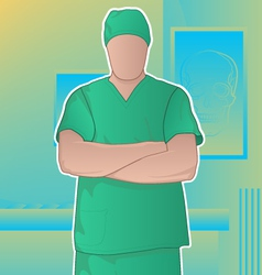 Surgeon in operating room vector
