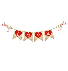 Vintage bunting with hearts vector