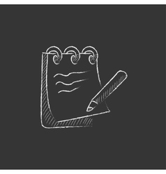 Notepad with pencil drawn in chalk icon vector