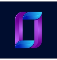 O letter volume blue and purple color logo design vector