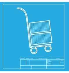 Hand truck sign white section of icon on vector