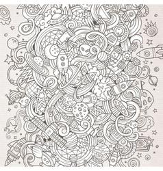 Cartoon hand-drawn doodles space vector