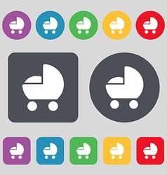Baby pram icon sign a set of 12 colored buttons vector