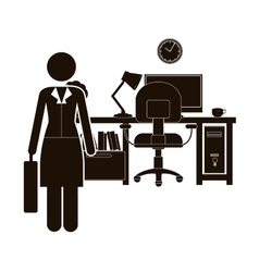black silhouette woman administrator in office vector image