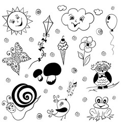 childish doodles vector image