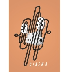 Cinema Vintage poster with movie projector and vector image vector image