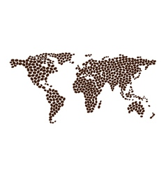 Coffee map design from coffee beans vector image vector image