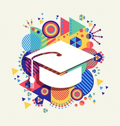 College graduation icon school concept color shape vector image vector image