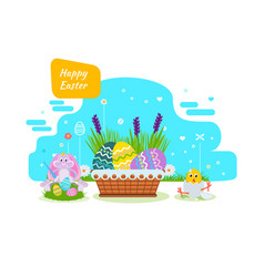 Cute bunny paints easter eggs with brush paint vector