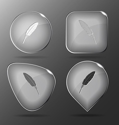 Feather glass buttons vector