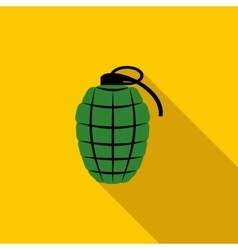 Green hand grenade icon flat style vector image