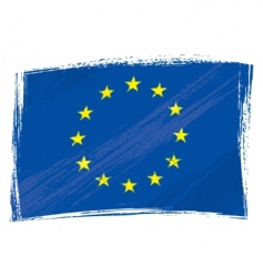 grunge European Union flag vector image