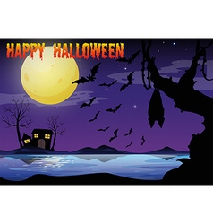Halloween theme with lake and bat flying vector