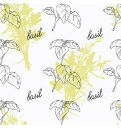 Hand drawn basil branch and handwritten sign vector image