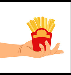 hand holding french fries vector image vector image