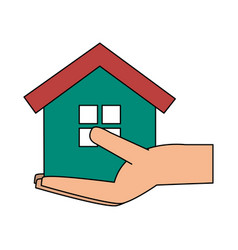 Hand holding house icon image vector