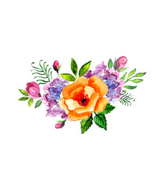Hand painted watercolor floral bouquet vector