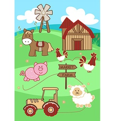 Market to farm cute farm animals on a hill vector