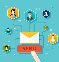Marketing Concept of running email campaign email vector image vector image