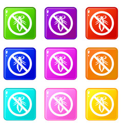 no louse sign icons 9 set vector image vector image