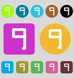 Number nine icon sign 12 colored buttons flat vector