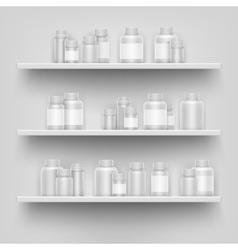 Realistic white 3d medicine blank bottle for pills vector image vector image