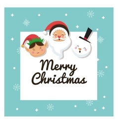 Santa elf and snowman icon merry christmas vector