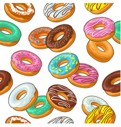seamless pattern set donut with different icing vector image vector image