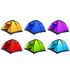 Set of different coloured tents vector