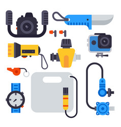set of flat elements for spearfishing diving vector image vector image