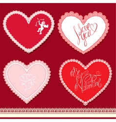 Set of hearts shape are made of lace doily element vector